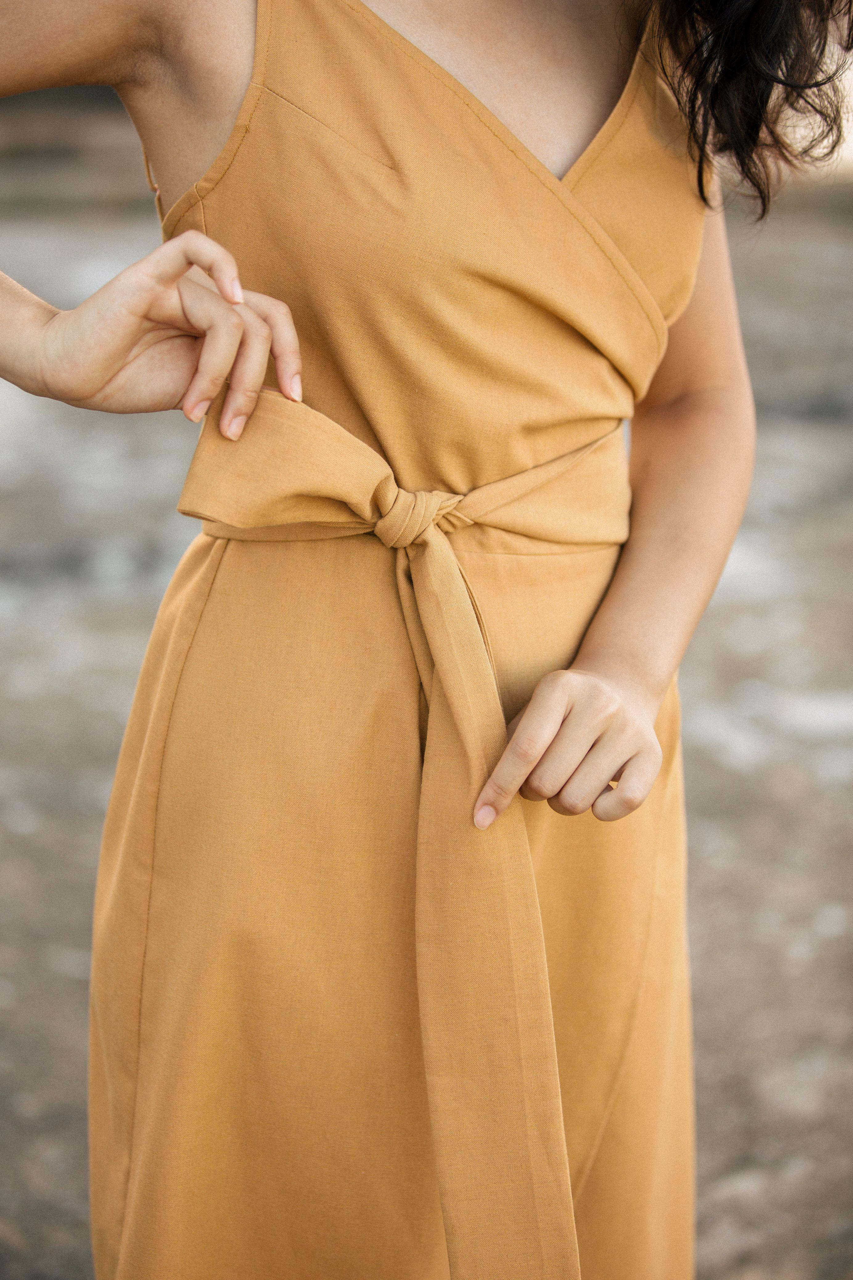88c9bf3266 Bridesmaid wrap dress in mustard. Linen midi dress with spaghetti straps  and sash. Great