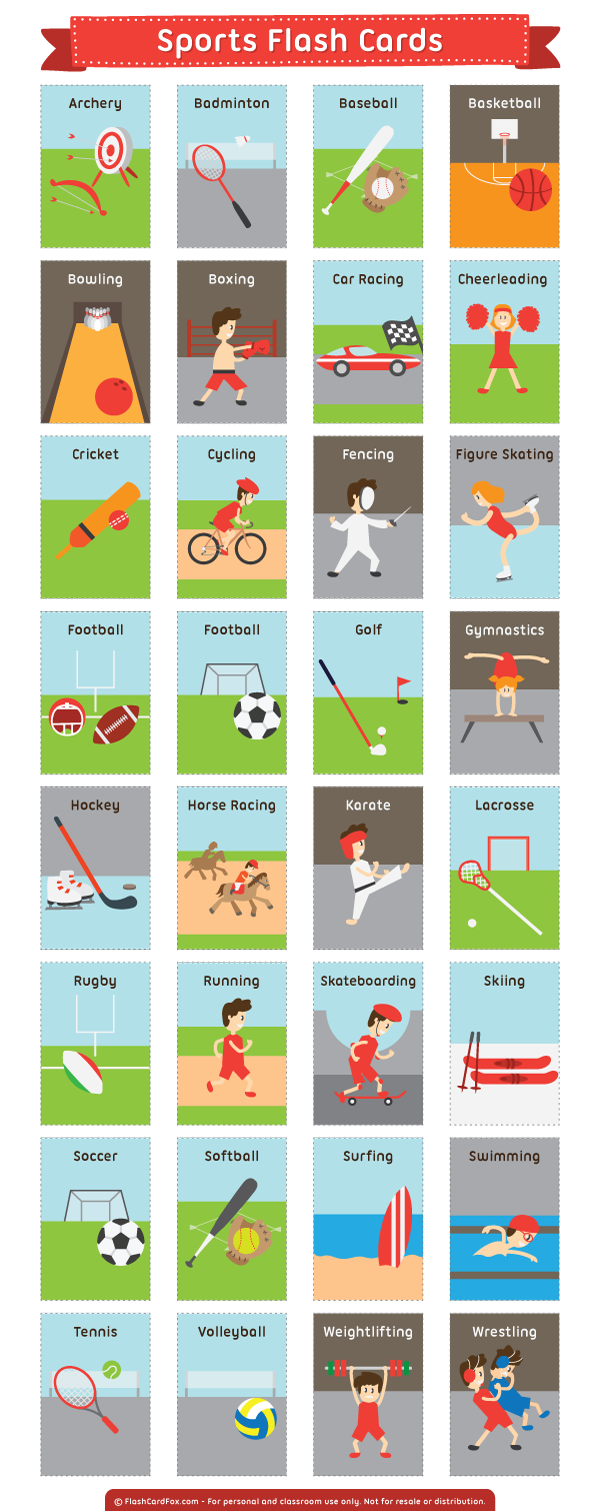 Free printable sports flash cards. These are great for learning ...