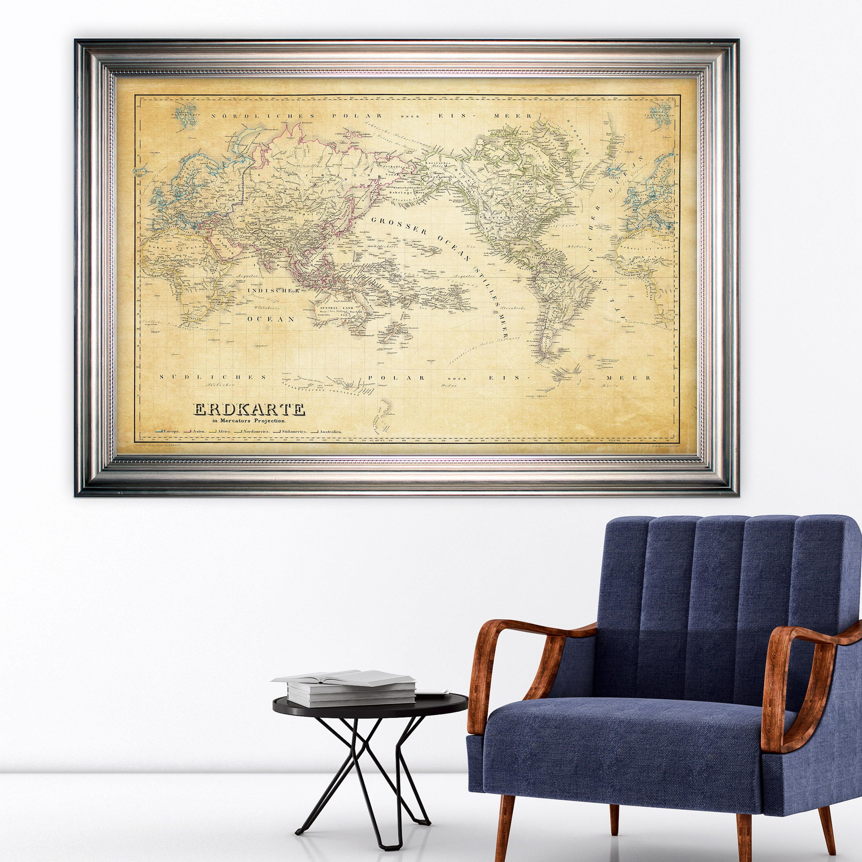 Home interior design maps wexford home vintage wold map iv parchement  frame  products