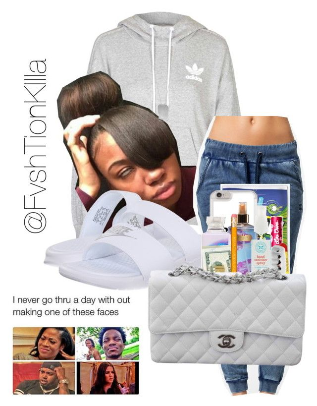 """Untitled #189"" by fvshtionkilla on Polyvore featuring adidas, OnePiece, NIKE, Lime Crime, Victoria's Secret, BillyTheTree, King Ice, The Honest Company and Chanel"