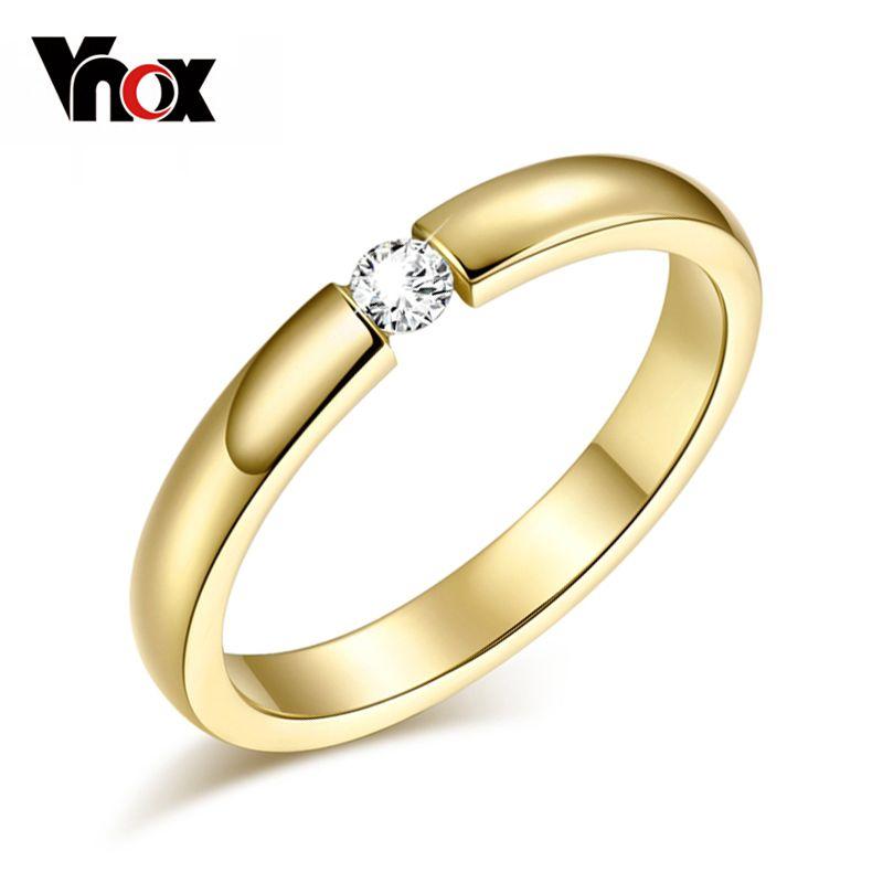 Vnox 3mm Nette Frauen Ring Gold Farbe Cz Stein Hochzeit Ring