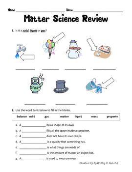 Matter Review Teacherspayteachers Com Matter Worksheets Matter Science Activities Matter Science