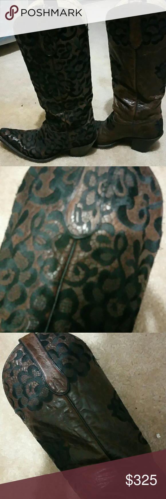 Ladies cowboy boots Brown leather with black embroidery. Very special boots. Have been gently worn. No marks or damage. Only wear is on the soles.  Come most to my knees,. But I am short. A bootmaker asked to take pictures of them to try and duplicate. Brand is Corrall. Shoes Heeled Boots