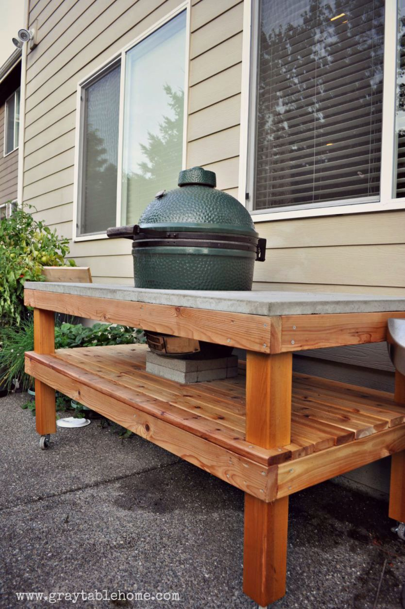 Diy Green Egg Table With Concrete Top Gray Home Bbq