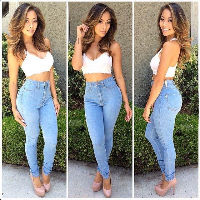 46b735dcf5b Liane V in Light Blue Classic High Waist Skinny Jeans