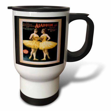 3dRose Vintage Theatre Poster For Ballet, Travel Mug, 14oz, Stainless Steel