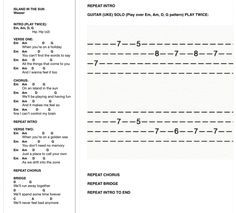 Island In The Sun -Uke Chords and Tab (easy version)