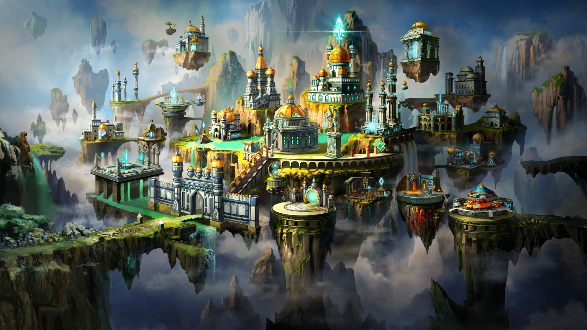 Download Wallpaper 1920x1080 Might Magic Heroes Vii Might And Magic X City Art Full Hd 1080p Hd Background