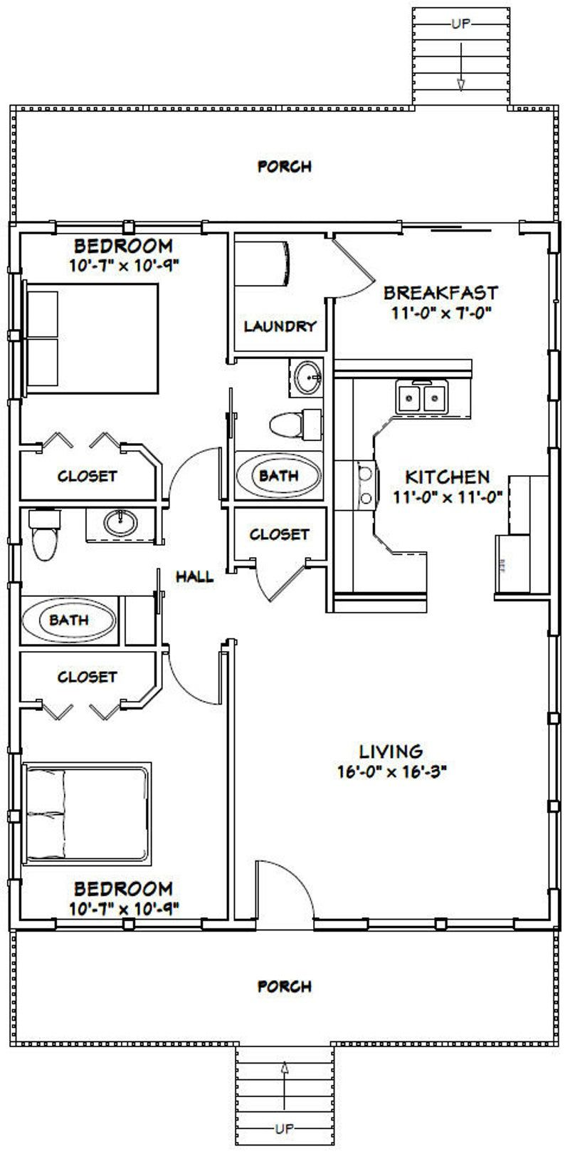 28x36 House 2 Bedroom 2 Bath 1 008 Sq Ft Pdf Floor Plan Instant Download Model 3e In 2021 Small House Floor Plans House Plans Ranch House Plans