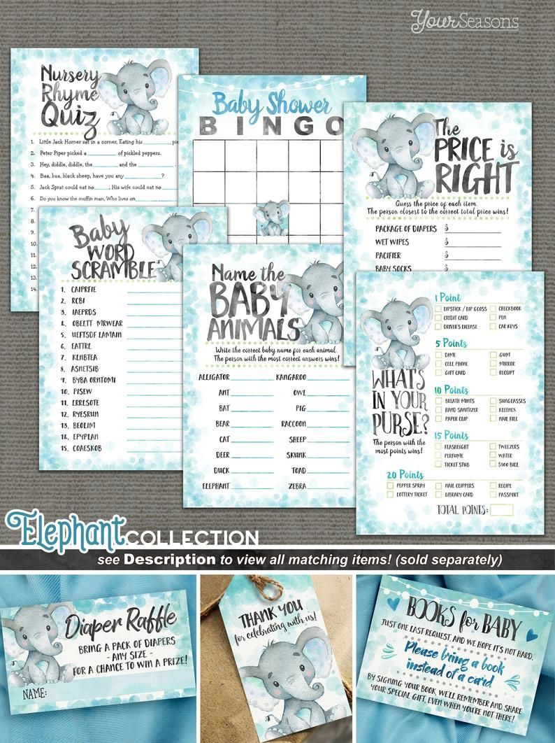 Elephant Baby Shower Games Package, printable INSTANT DOWNLOAD digital files, 01h