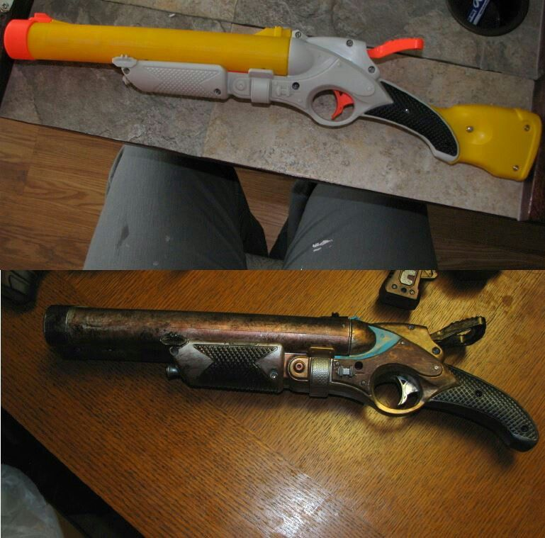 Nerf Steampunk Gun Before And After