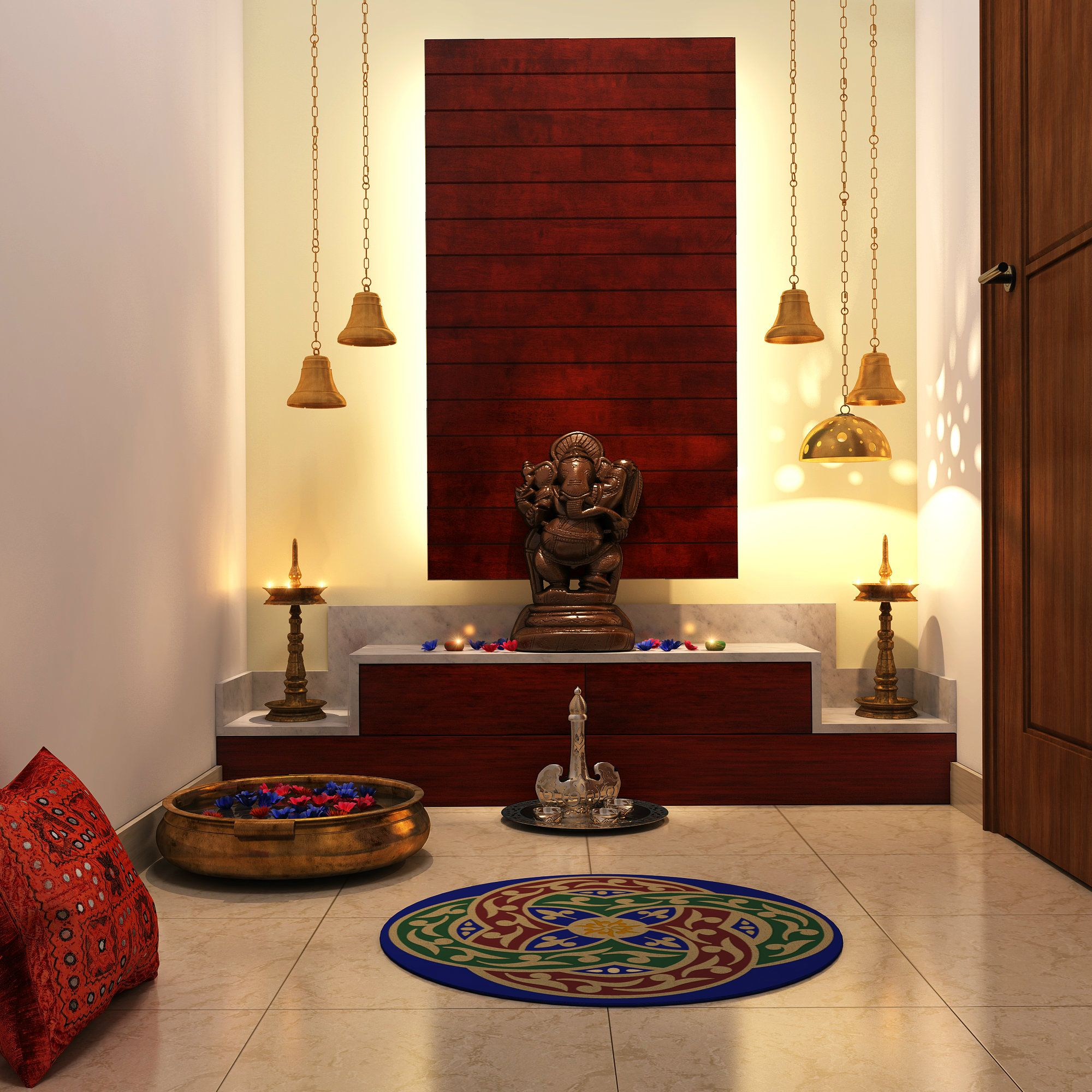Living Rooms · Chic Lighting, Colorful Add Ons Complete This Pooja Room Part 62