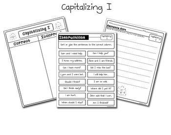 free capitalizing i sentence sort kindergarten kindergarten writing teaching writing. Black Bedroom Furniture Sets. Home Design Ideas