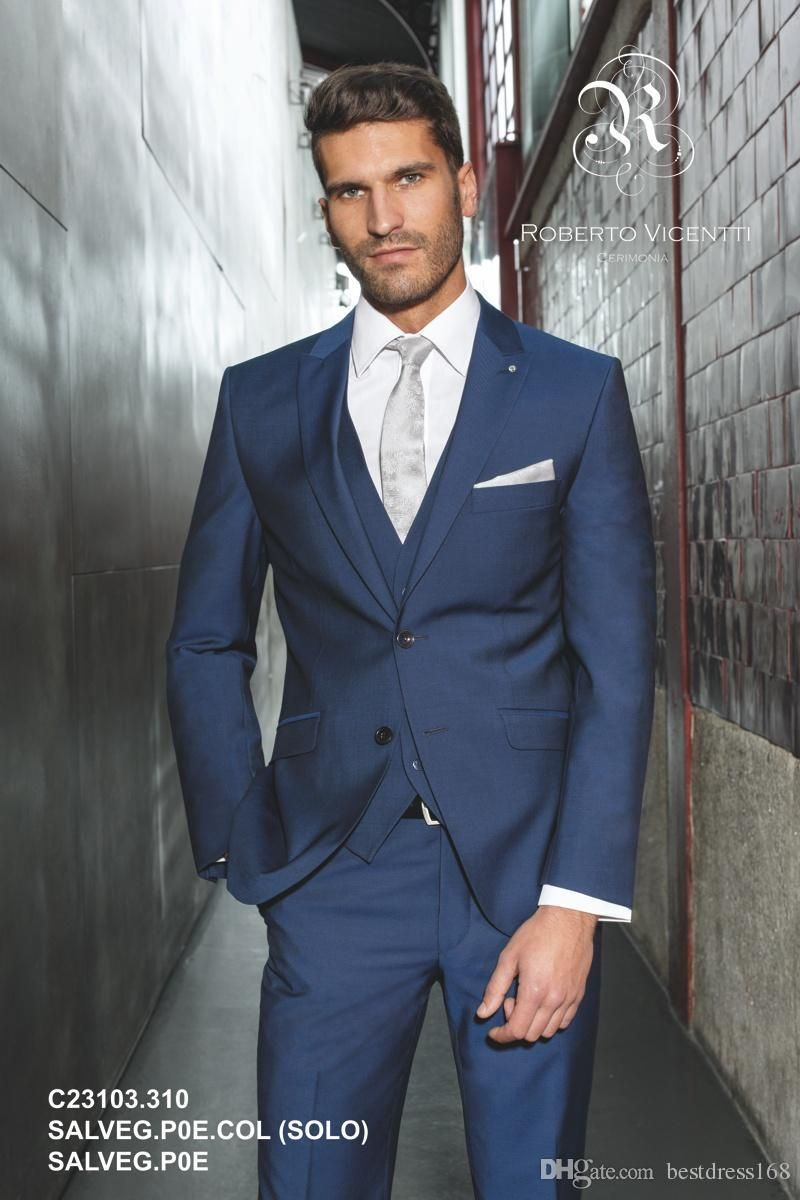 Custom made slim fit navy blue arabic wedding suit for men