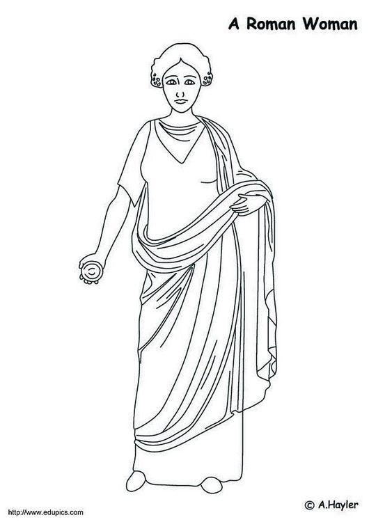 Dibujo para colorear Mujer romana | Proyecto Roma y Grecia ...