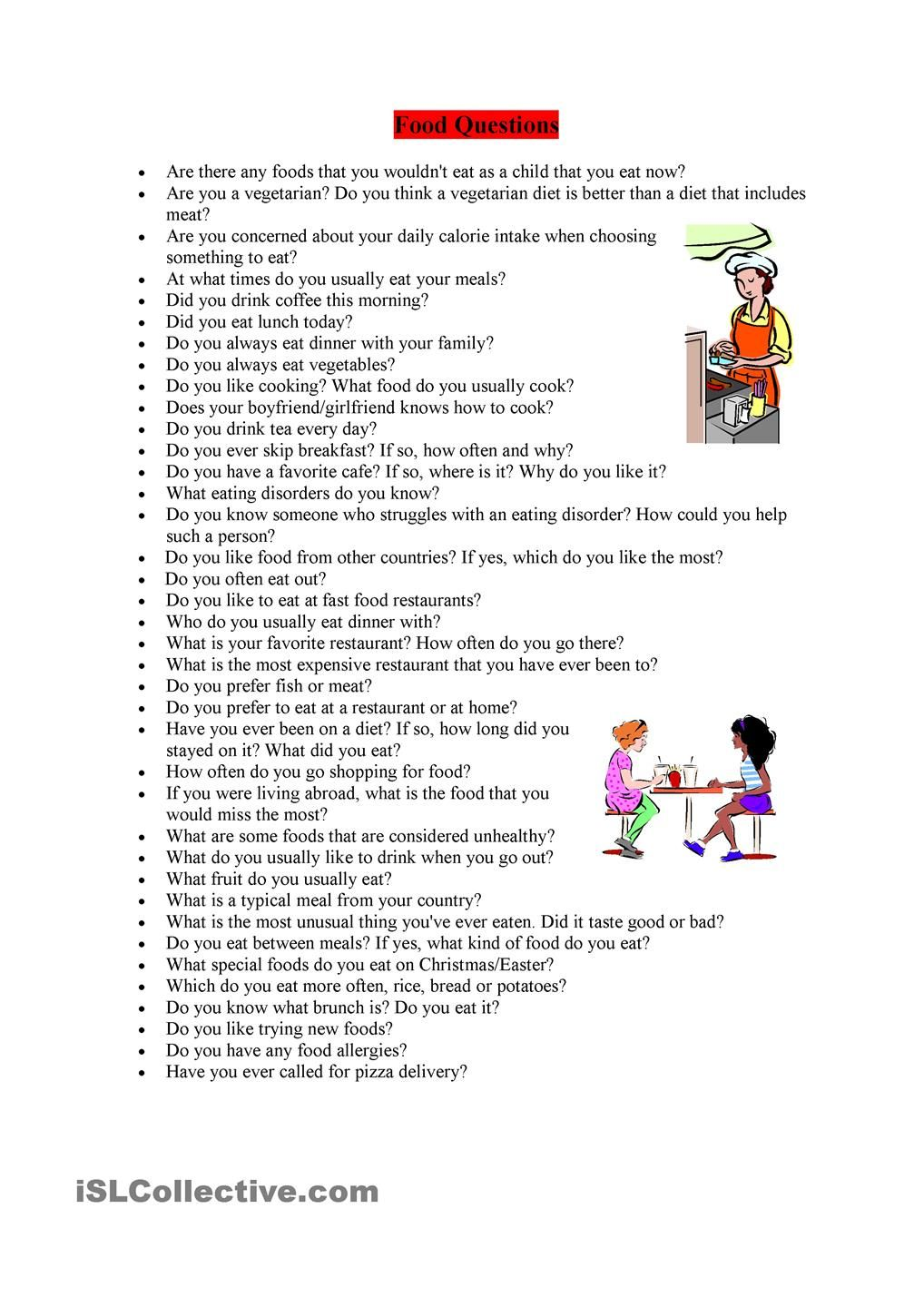 Food Questions This or that questions, Teaching english