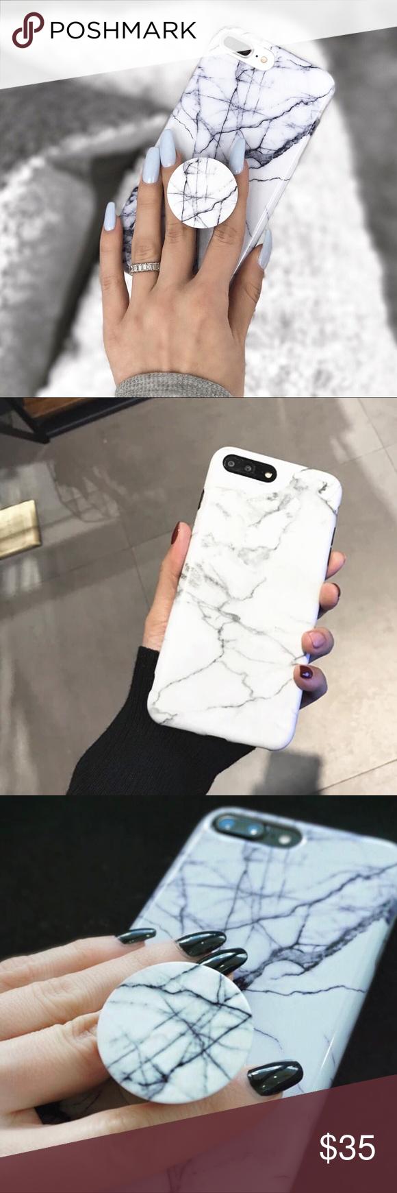Bundle Deal White Marble Iphone Case Popsocket