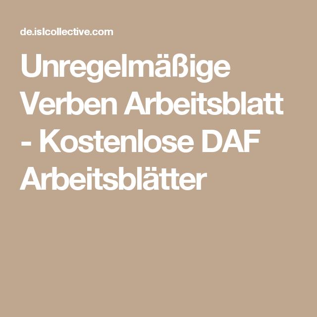 Unregelmäßige Verben Arbeitsblatt - Kostenlose DAF Arbeitsblätter ...