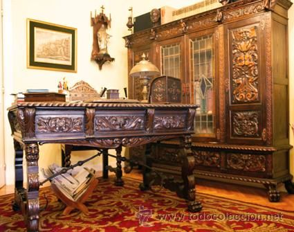 Despacho antiguo tallado con muebles de roble muebles for Muebles escritorios clasicos