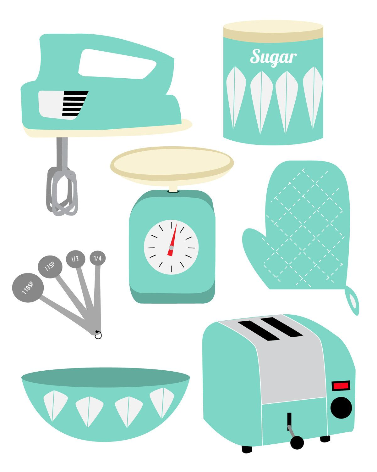 Retro Kitchen Print. $15.00, via Etsy. | printables | Pinterest ...