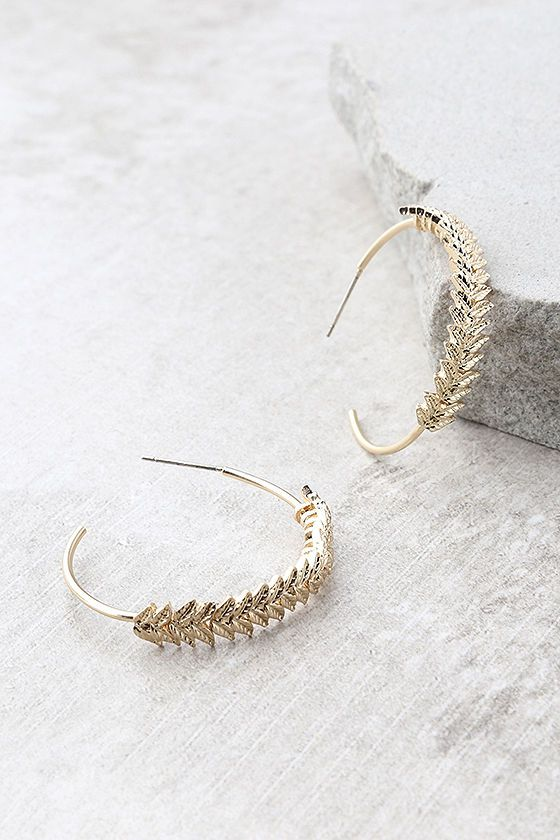 dba1bc850 Shine like a true goddess in the Grecian Seas Gold Hoop Earrings! Beautiful  gold hoop earrings, adorned with leaf detailing, measure 1.5