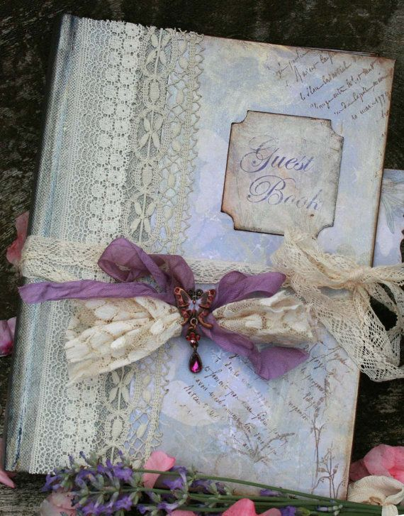Lavender Wedding Guest Book vintage style by youruniquescrapbook ...