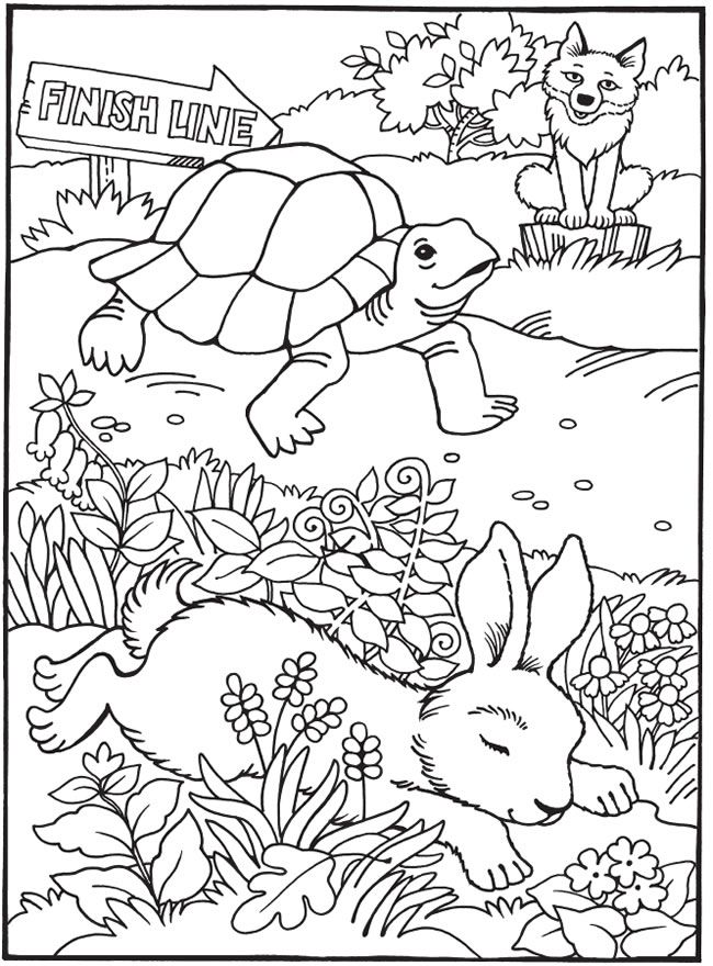 Best Loved Aesop S Fables The Tortoise And The Hare Tortoise And The Hare Coloring Page