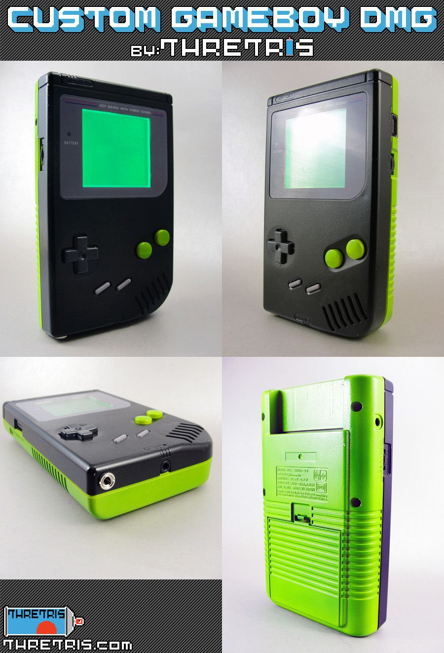 Game boy color palette - Custom Painted Original 1989 Nintendo Gameboy With Green Backlight And Prosound Mod Visit My Website Link Myspace Music Link Green And Black