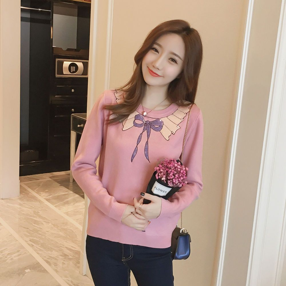 Sweet Round Collar 2016 Winter Fashion Women Bow Knot Sequins Knit Sweater Tops #Unbranded #Crewneck #Casual