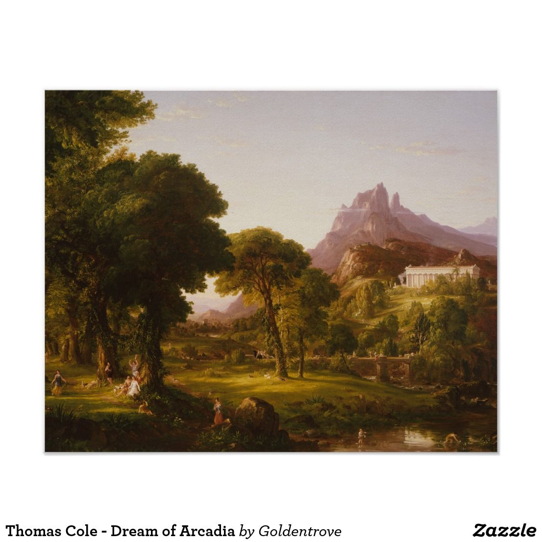 Thomas Cole Dream Of Arcadia Poster Zazzle Com Big Box Art Wilderness Society Hudson River School