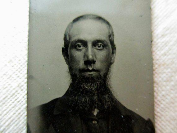 Antique miniature gem tintype photo - 1800s, strange man
