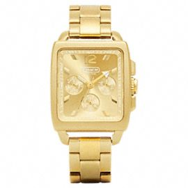 Coach Boyfriend Square Gold Plated Bracelet Watch- love!