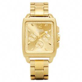 Coach Boyfriend Square Gold Plated Bracelet Watch- love!