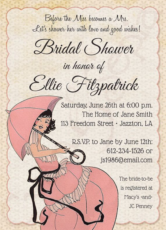 Printable Bridal Wedding Shower Invitation 5x7 by CyanAndSepia - bridal shower invitation samples