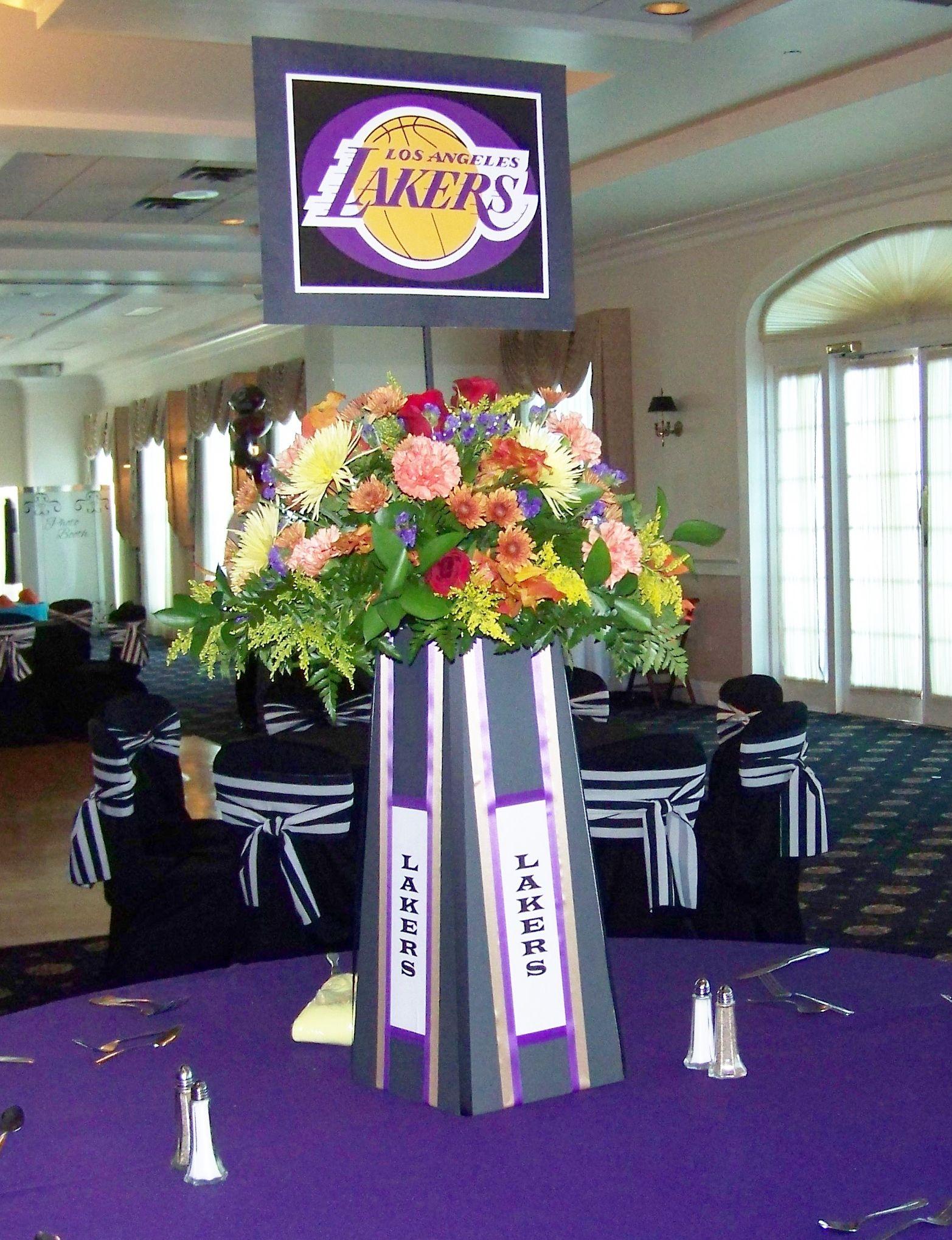 Lakers Centerpiece Sports Theme Bar Mitzvah By Omas Garden Flower