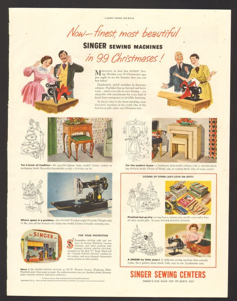 1950 Print Advertisement Singer Sewing Machines In 99 Christmases Singer Sewing Machine Singer Sewing Sewing Machine