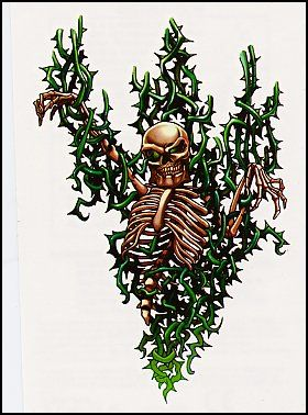 Skeleton in thorns Temporary Tattoo.
