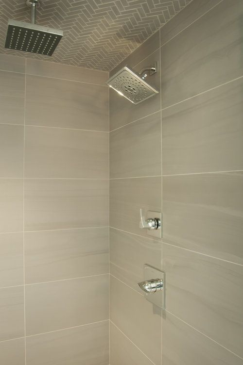 Master Bath Shower With Herringbone Pattern Tile Ceiling And 12 X 24 Wall Tile Chrome Fixtures W Bathroom Shower Tile Master Bath Shower Bathroom Shower Walls