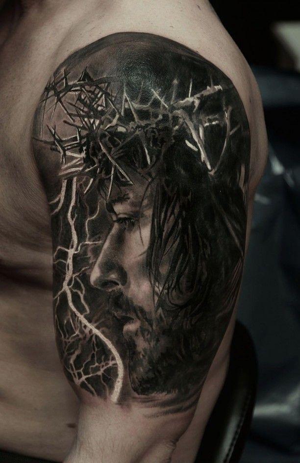 Jesus 3d Oberarm Tattoo Portr T Jesus Tattoos Tattoos Jesus
