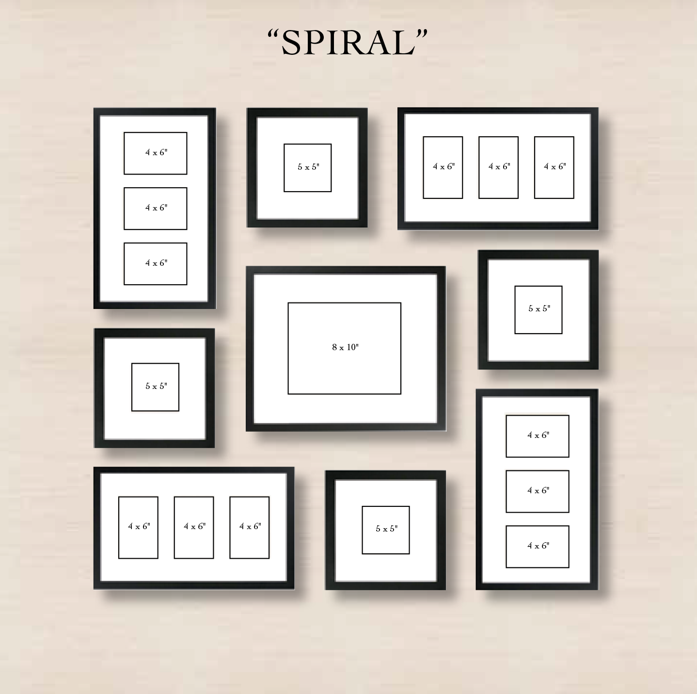 spiral gallery wall layout tip start with placing the center frame and then spiral out the other frames in the arrangement you see