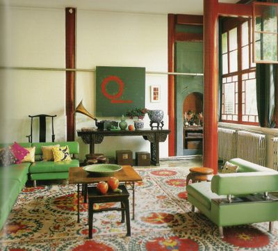 Modern Mix In Beijing Red Green Living Room By Jehanne De Biolley Via Flickr