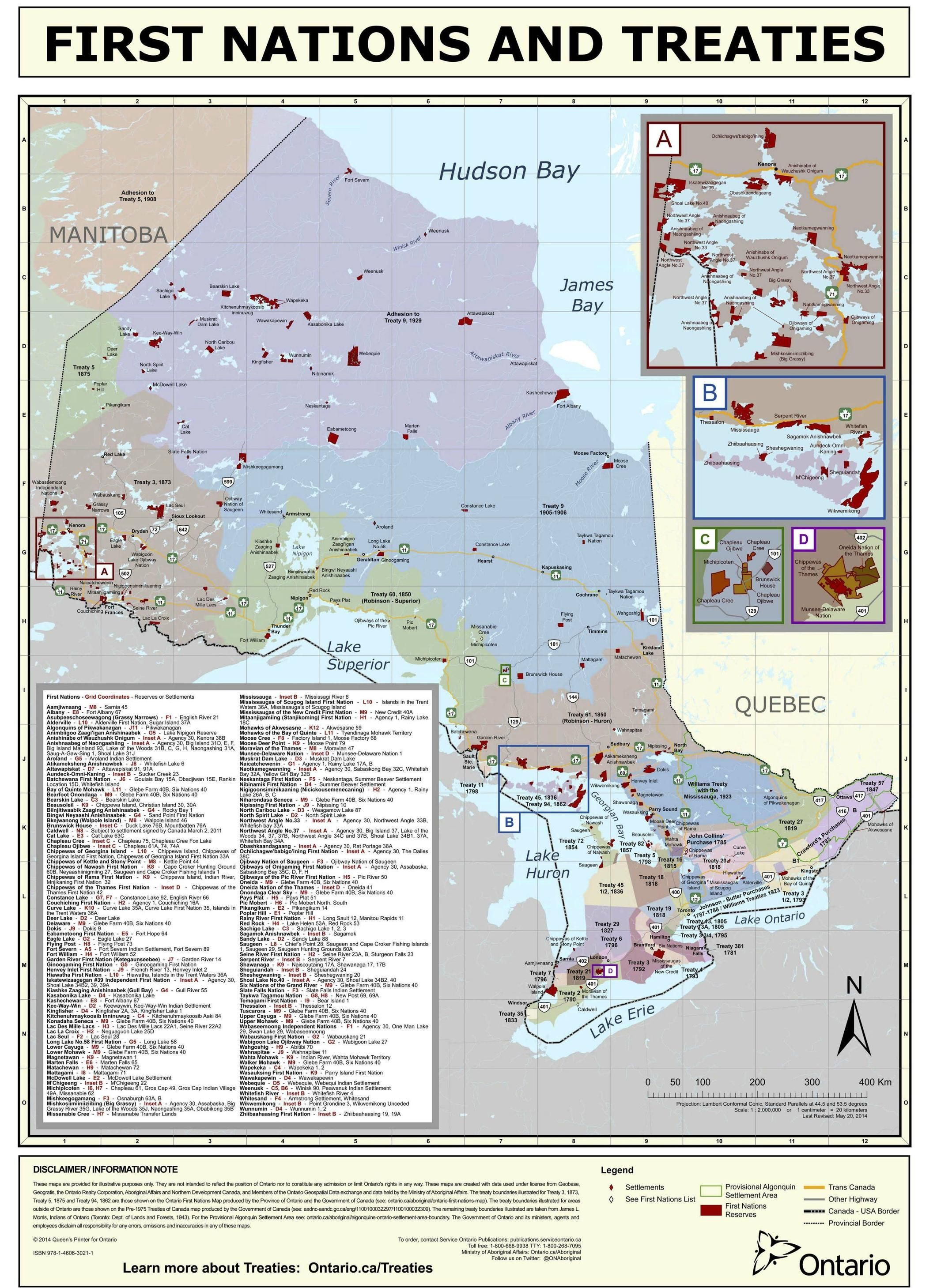 First Nations Reserves and Treaties from1781-1930 in Ontario #map #ontario #first nations