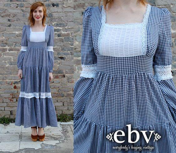 Vintage Hippie Dress Gunne Sax Dress Blue Gingham Dress by shopEBV, $110.00