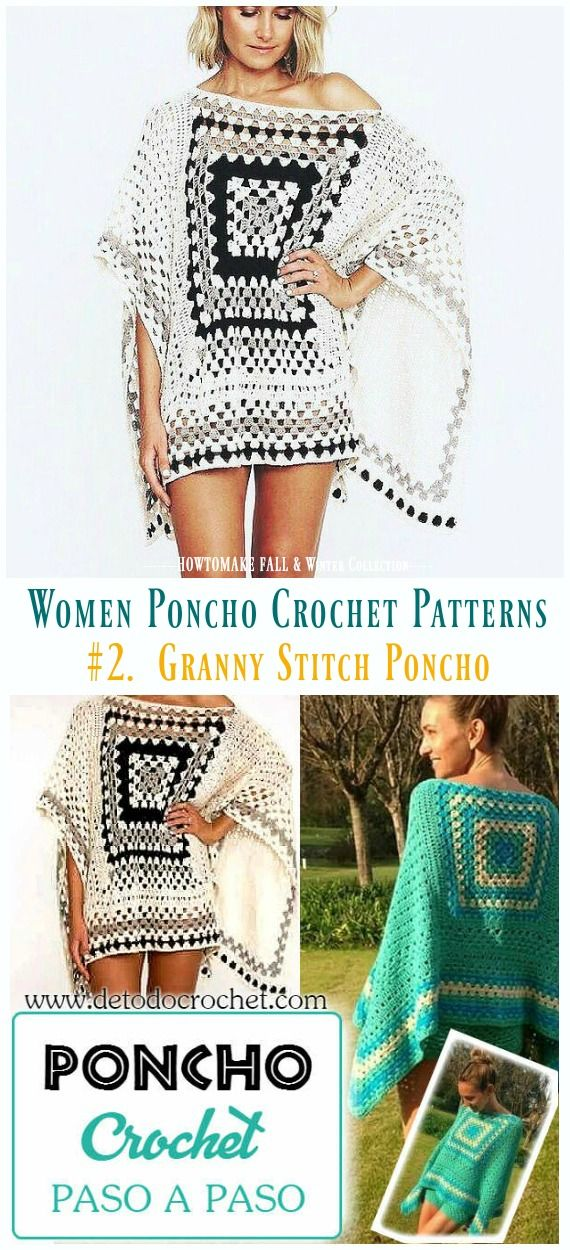 Fall & Winter Women Poncho Free Crochet Patterns & Paid | Chain one ...