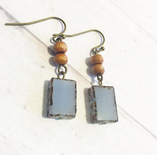 Antique Style Czech Glass Earrings, Wood Beads Earrings, Unique Earrings, Bohemian Hobo Style Earrings, Gift Ideas