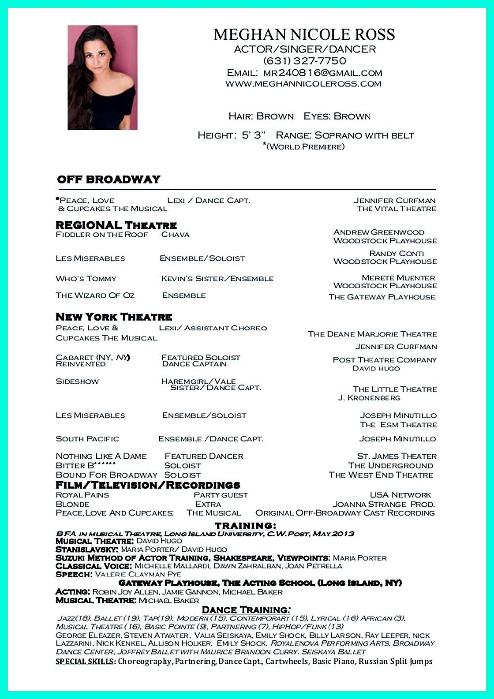 Dance Resume Examples Dance Resume Can Be Used For Both Novice And Professional Dancer