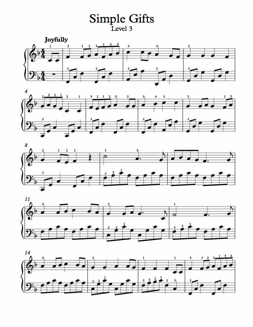 Free Piano Arrangement Sheet Music Simple Gifts Level 3