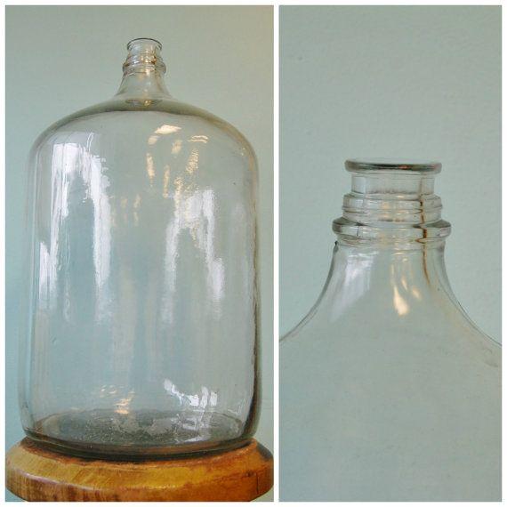 Large Vintage Glass Carboy Water Jug Demijohn 6 1 2 Gallon Cooler Wine Beer Making Clear Barrel Paneled Water Jug Vintage Jars Glass