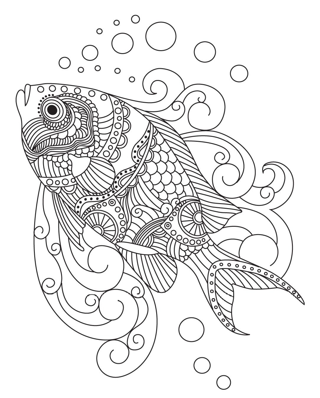 - Fish Colorish: Coloring Book For Adults Mandala Relax By