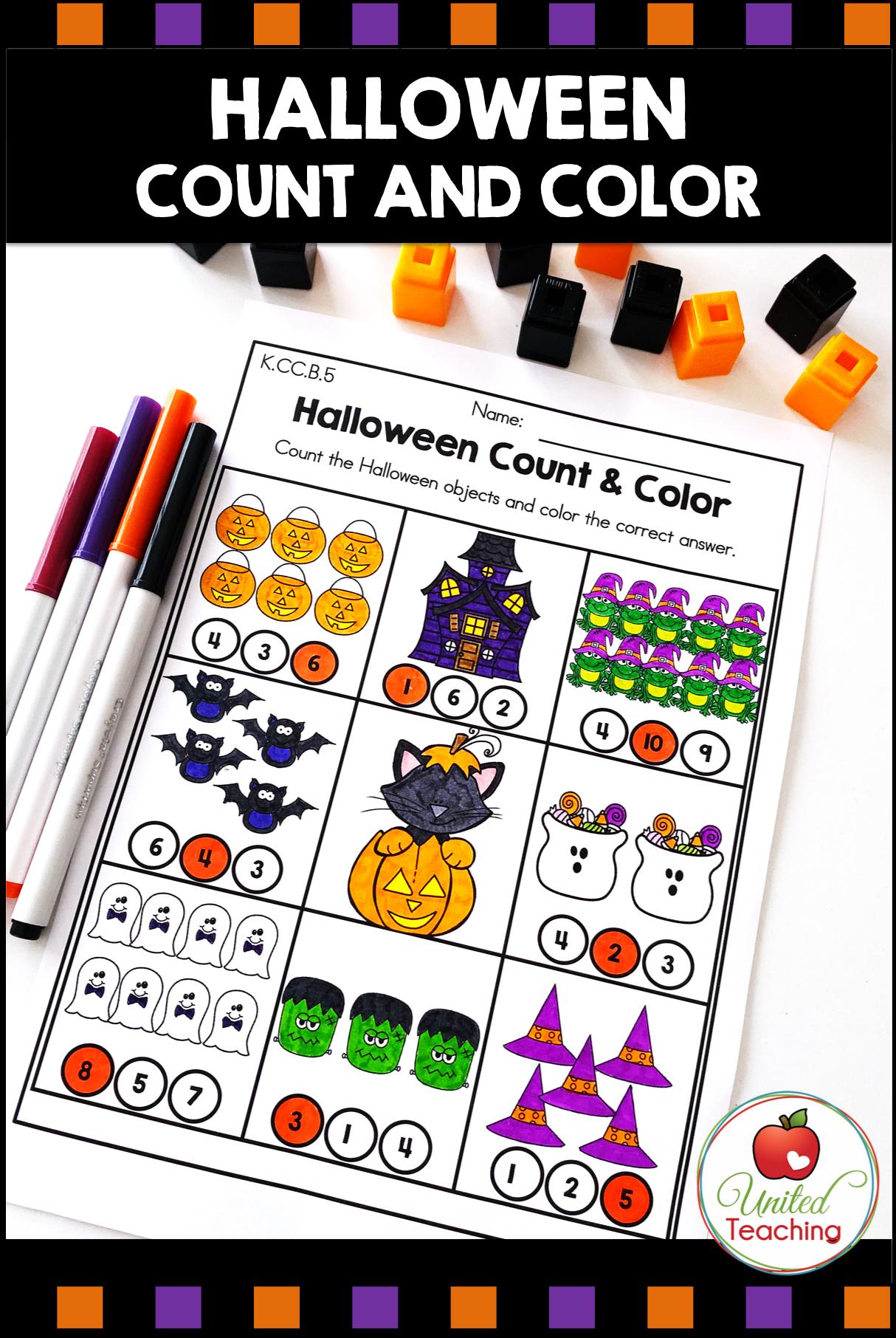 Halloween Math Activities Kindergarten